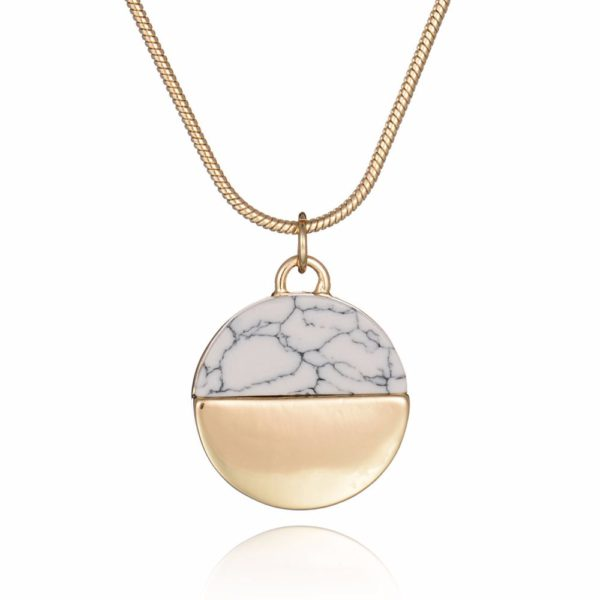 Gold and White Marble Round Necklace